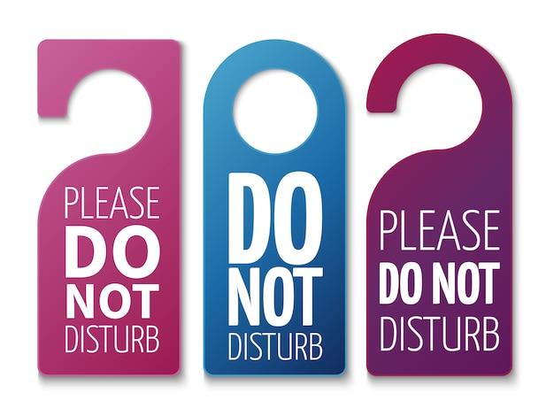 Do not disturb room signs set Premium Vector