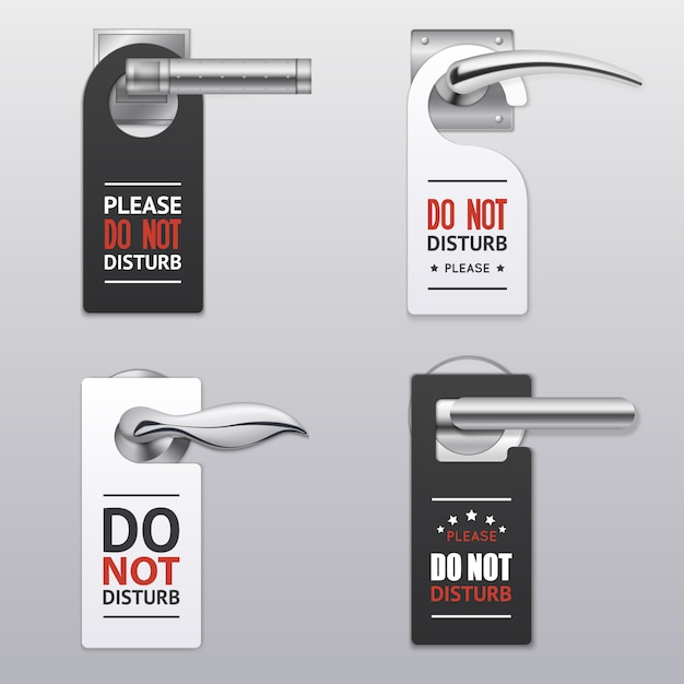 Do not disturb sign labels Free Vector
