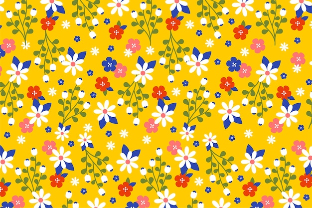 Ditsy colorful floral wallpaper Free Vector