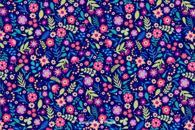 Ditsy floral background with different colorful flowers Free Vector