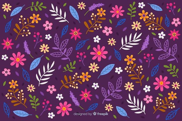 Ditsy красочный цветочный фон Бесплатные векторы