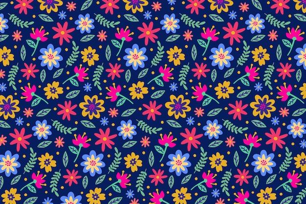 Красочный ditsy цветочный принт фон Бесплатные векторы