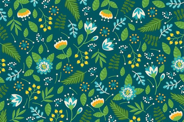 Красочный ditsy цветочный принт фон в зеленых тонах Бесплатные векторы