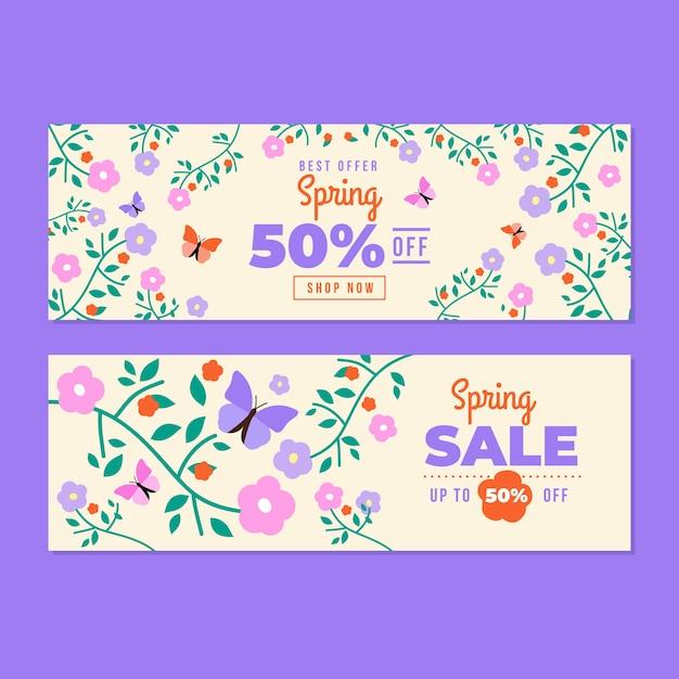 Ditsy цветочные весна плоский дизайн баннеры Бесплатные векторы
