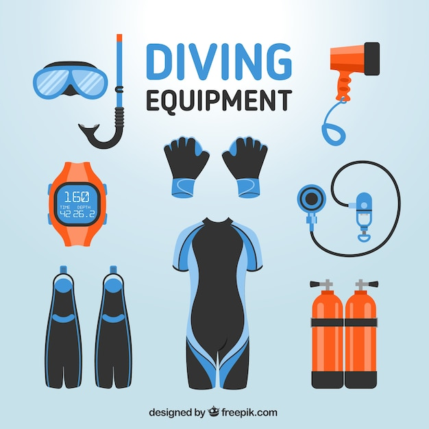 Dive elements in flat design Free Vector