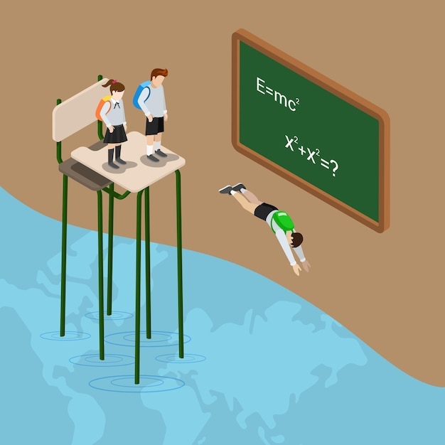 Dive into world of education ocean flat isometric knowledge school Free Vector
