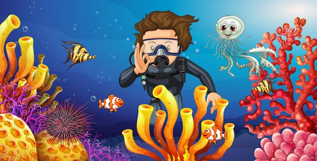 Diver diving underwater with many sea animals Premium Vector
