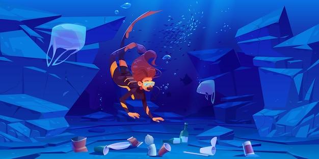 바닥에 플라스틱 쓰레기와 함께 바다에서 다이버 소녀. 무료 벡터