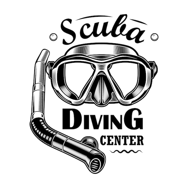 Diver mask and tube vector illustration. scuba diving center text. seaside activity concept for snorkeling or diving club emblems or labels templates Free Vector
