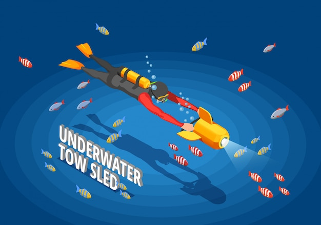Diver underwater isomentric Free Vector