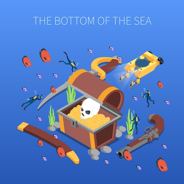 Divers during study of treasure of sea bottom isometric composition vector illustration Free Vector