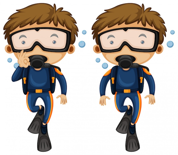 Divers and hand gestures Free Vector