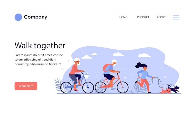 Diverse active people enjoying activities in park. website template or landing page Free Vector