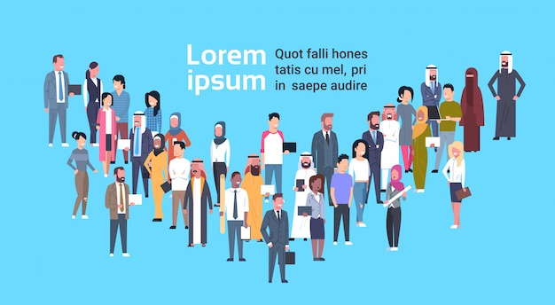 Diverse business people crowd of mix race businesspeople over background with copy space Premium Vector