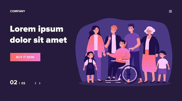Diverse community members standing together. crowd of happy men, women of different ages, children and disabled person.  illustration for civil society, diversity, togetherness, citizens concept Premium Vector