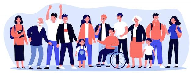 Diverse community members standing together Premium Vector