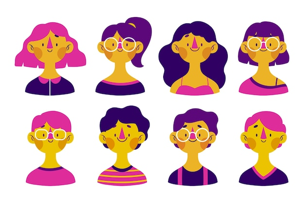 Diverse faces, happy expressions people avatars Free Vector