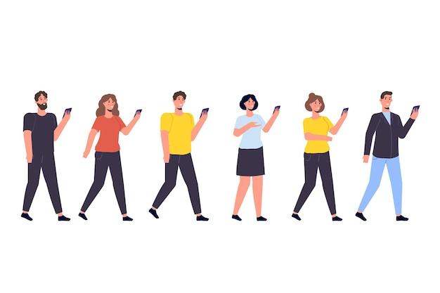 スマートフォンを手にした人々の概念の多様なフォーカスグループ Premiumベクター