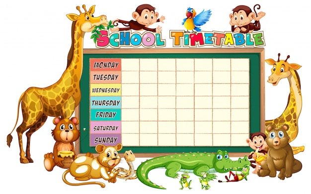 Diverse group of animals around school timetable planner Free Vector