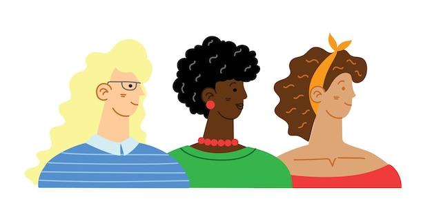Разнообразная интернациональная и межрасовая группа стоящих женщин. для девушек концепция власти, женственность и идеи феминизма Premium векторы