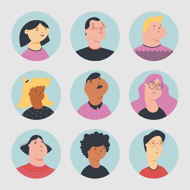 Коллекция аватаров разных людей Бесплатные векторы