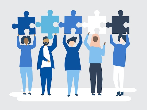 Diverse people holding different puzzle pieces illustration Free Vector