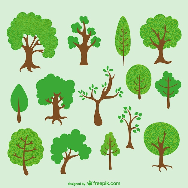 Diverse trees cartoon pack