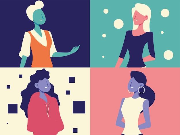 Разнообразные женские портретные персонажи женский набор векторные иллюстрации Premium векторы