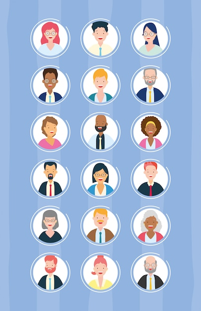 Diversity business man and woman Free Vector