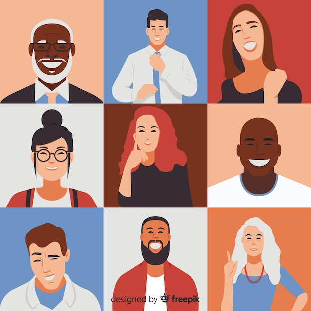 Diversity concept flat style background Free Vector