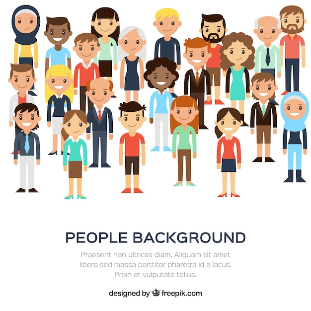 Diversity of people background in flat design Free Vector