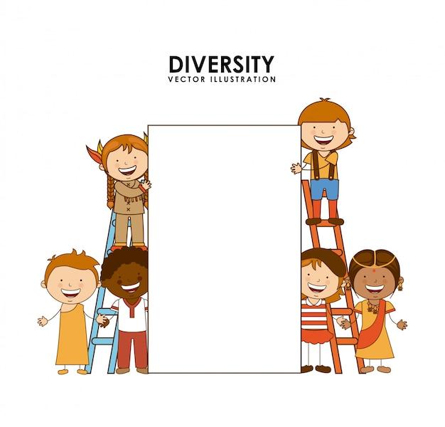 Diversity of races over white  background Premium Vector