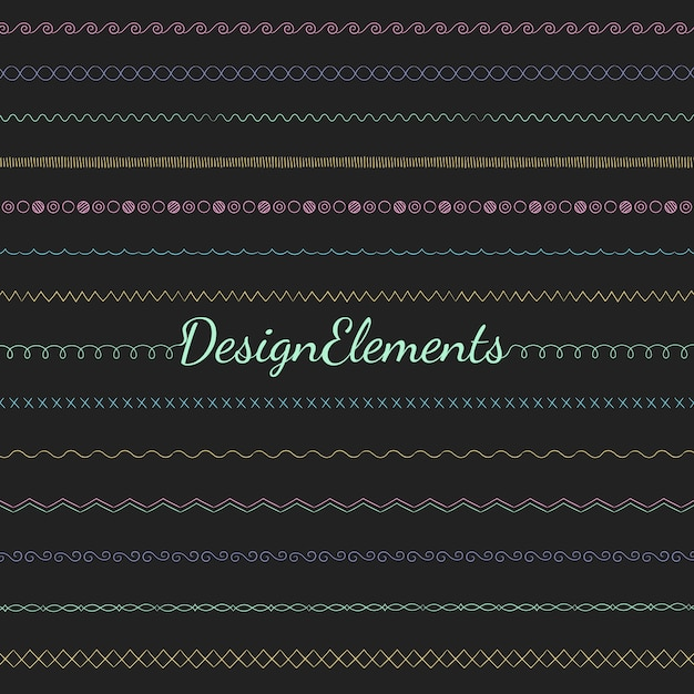Divider line design elements vector collection Free Vector