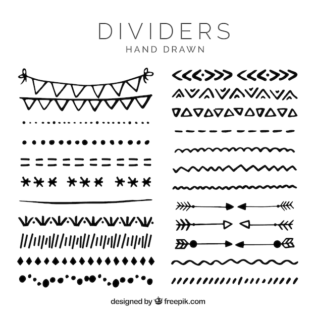 Dividers collection in hand drawn style Free Vector