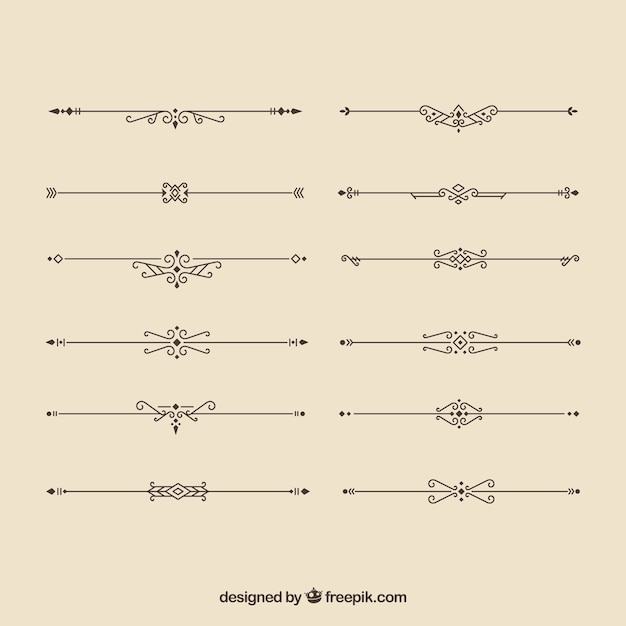 Dividers collection in calligraphic style Free Vector