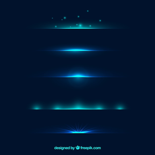 Dividers collection with blue light effect Free Vector
