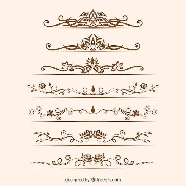 Dividers collection with floral ornaments Free Vector