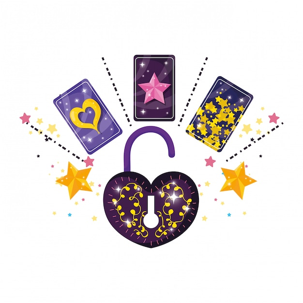 Divination cards and padlock with heart shape Premium Vector