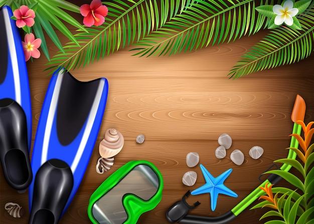 Accessori per immersioni realistici con pinne maschera da snorkeling piante tropicali creature marine su tavola di legno Vettore gratuito