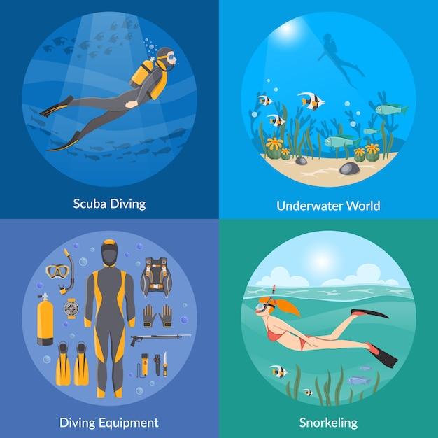 ダイビングとシュノーケリングの要素と文字 無料ベクター
