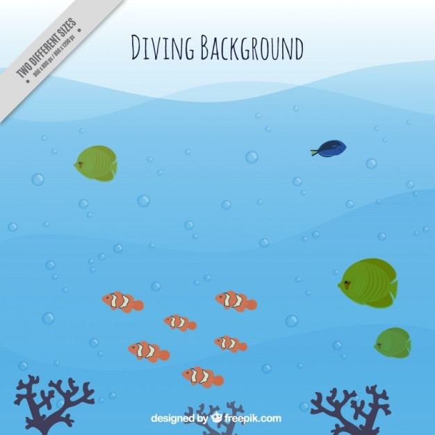 Diving background with fishes and seaweeds Free Vector