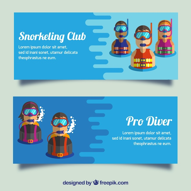Diving banners with scuba divers in modern style Free Vector