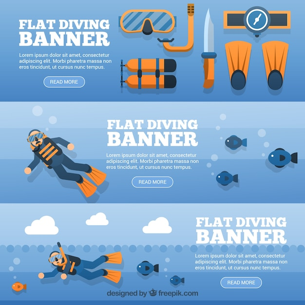 Diving banners Free Vector