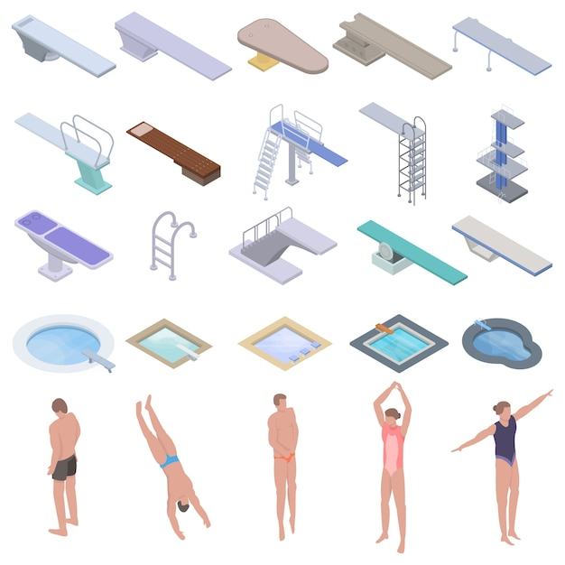 Diving board icons set, isometric style Premium Vector