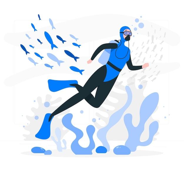 Illustrazione di concetto di immersione subacquea Vettore gratuito