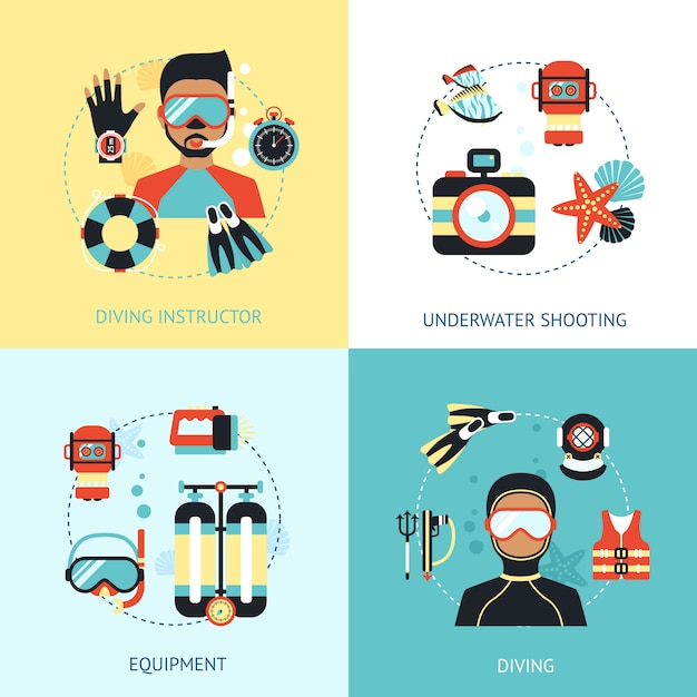 Diving design concept Free Vector