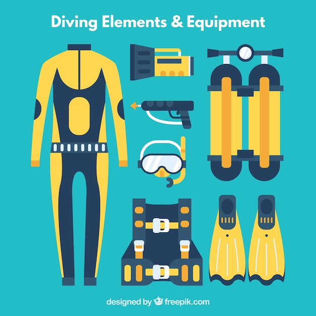 Diving elements and equipment in flat design in blue and yellow colors Premium Vector
