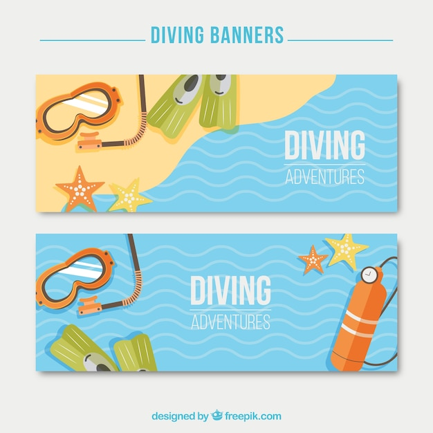 Diving elements on the seashore banners Free Vector