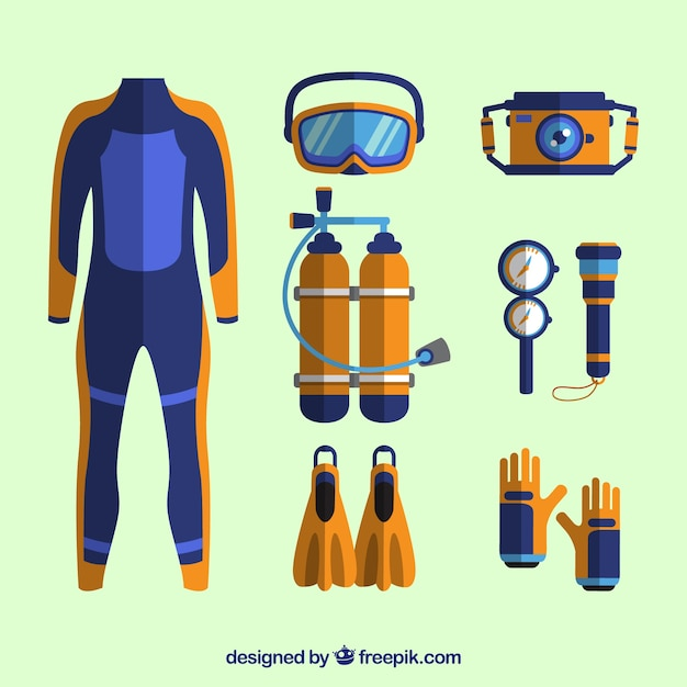 diving elements with wetsuit in flat design vector free