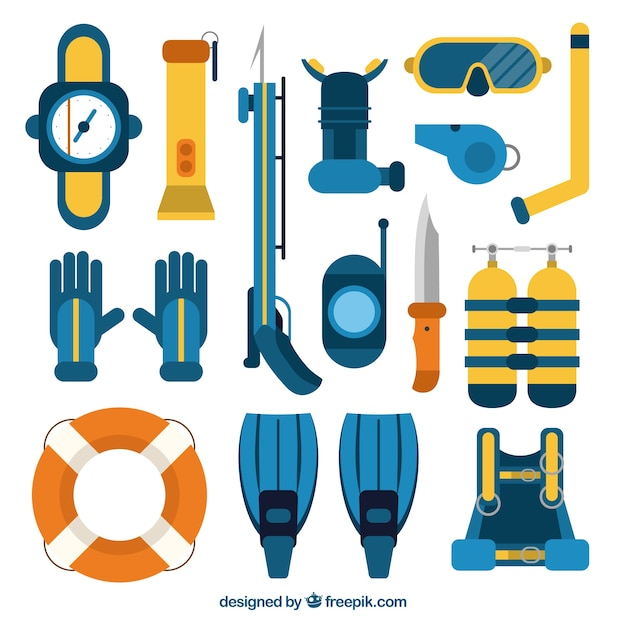 Diving equipment collection in flat design Free Vector